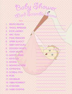 Baby Girl Baby Shower Word Scramble Game